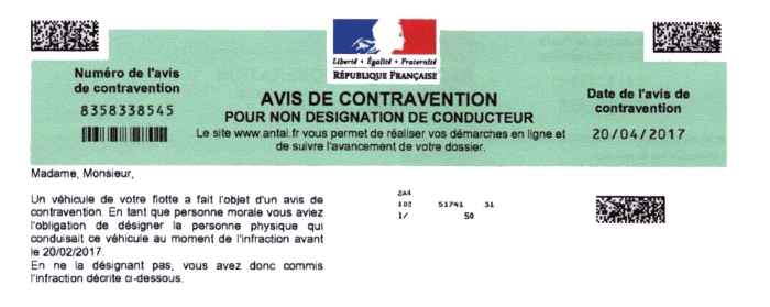 avis de contravention non dénonciation